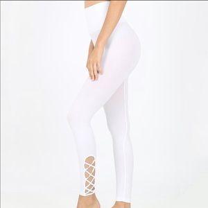 White Tummy Control Lattice Leggings